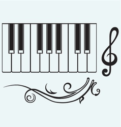 Piano and treble clef vector image