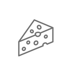 Piece cheese with holes delicacy line icon vector