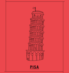 pisa tower leaninghand drawn sketch vector image
