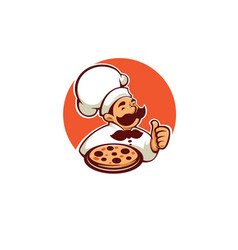 pizza maker chef icon label logo vector image