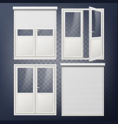 plastic door modern white roller shutter vector image