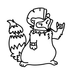 Punk rock raccoon with mohawk clipart vector