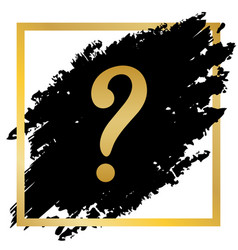 Question mark sign golden icon at black vector