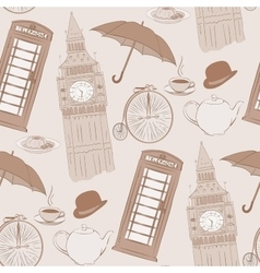 Retro hand drawn London pattern vector image