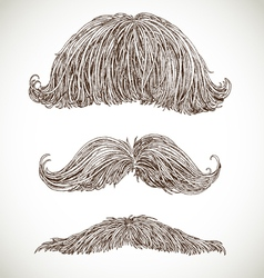 Retro mustache set vector
