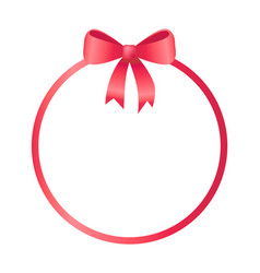 Round frame decorated red bow vector
