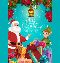 Santa and elf with christmas gifts and presents vector