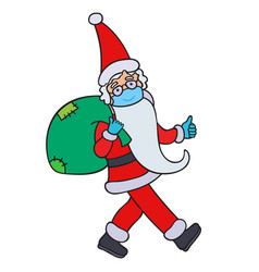 santa claus in surgical mask and medical gloves vector image