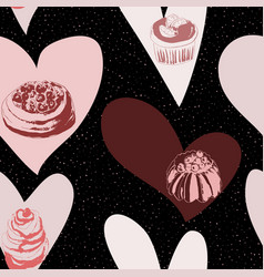 seamless background with cakes and hearts vector image