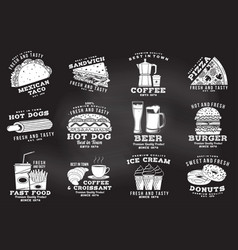 set fast food badge on chalkboard vintage vector image