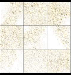 set gold glitter texture isolated on white vector image
