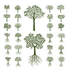 Set green trees vector