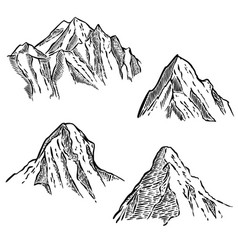 Set of mountain sketches design element for vector