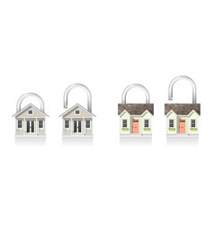 set of small house padlocks vector image