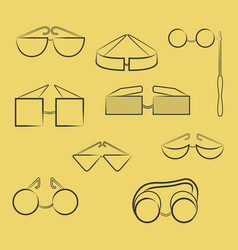 set with different type of glasses in contour vector image
