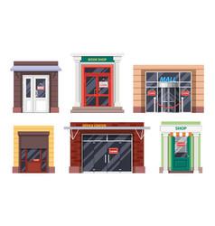 Shop entrance door office mall facades icons vector