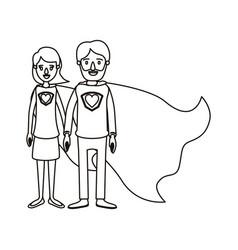 Silhouette cartoon full body couple parents super vector