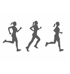 silhouette of running woman vector image