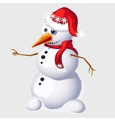 Snowman with carrot in red cap and scarf vector