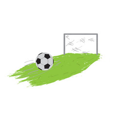 soccer field with ball and net vector image