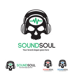 Sound soul logo skull with headphone and wave vector