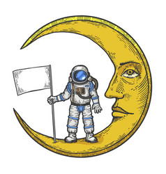Spaceman white flag on moon color sketch engraving vector
