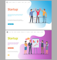 Startup presentation people whiteboard with info vector
