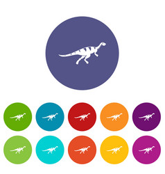 Stegosaurus dinosaur icons set flat vector