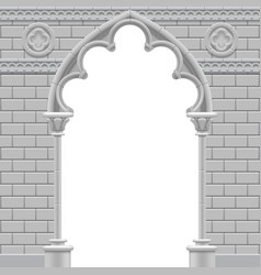 Stone gothic arch and wall in black and white vector