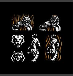tiger and tiger head vector image