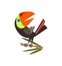 Toucan Sitting On Branch Flat Cartoon vector
