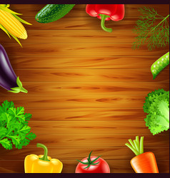 Vegetables on wooden background top view vector