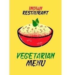Vegetarian menu card for Indian restaurant vector