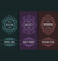 vintage packaging design set with alcohol drink vector image