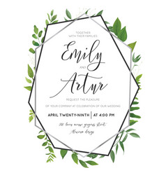 Wedding floral watercolor botanical invite card vector
