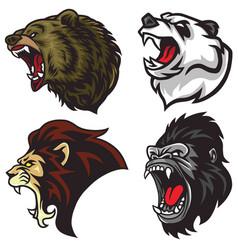 Wild animals heads set lion bear gorilla panda vector