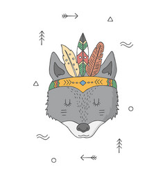 wolf in a headdress indians cartoon character vector image