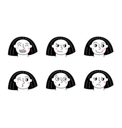 woman face expression girl face different facial vector image