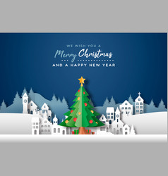 year papercut city pine tree card vector image