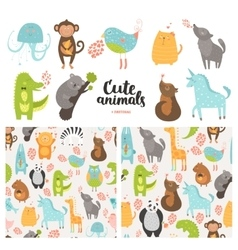Cartoon animals collection vector image vector image
