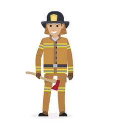 cheerful firefighter in protective suit with ax vector image