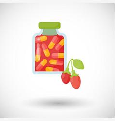 goji berry capsules flat icon vector image vector image