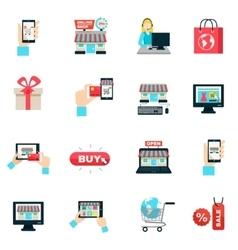 Internet Shopping Flat Icon Set vector image
