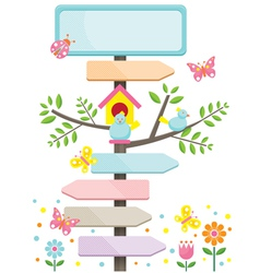 Spring Season with Birds and Direction Signs vector image