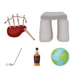 Stone monument bagpipe whiskey golf scotland vector