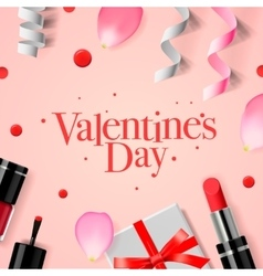 Valentines Day card with gift box and cosmetics vector image vector image