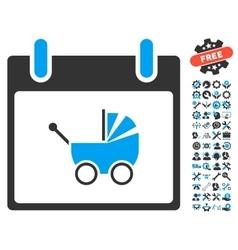 Baby Carriage Calendar Day Icon With Bonus vector image vector image