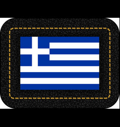 flag of greece icon on black leather backdrop vector image
