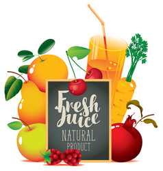 fresh juice banner with fruits and blackboard vector image vector image