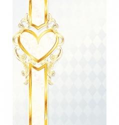gold heart emblem vector image vector image